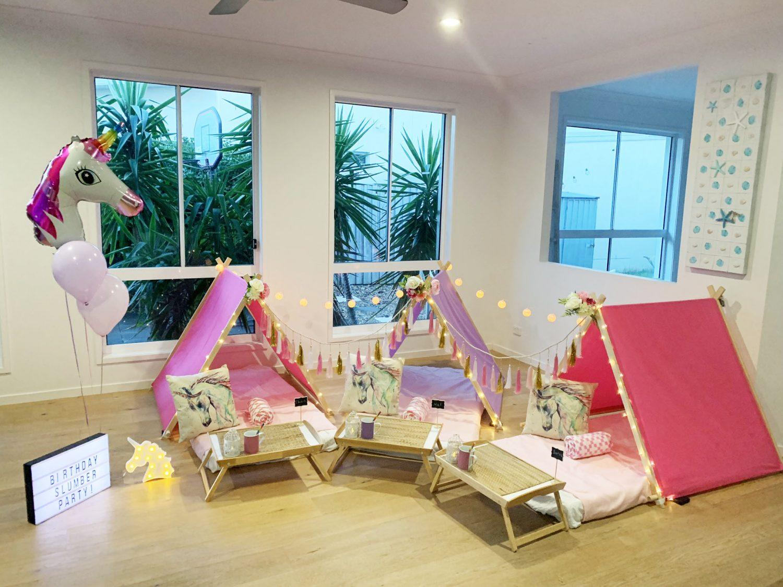 bright pink unicorn sleepover