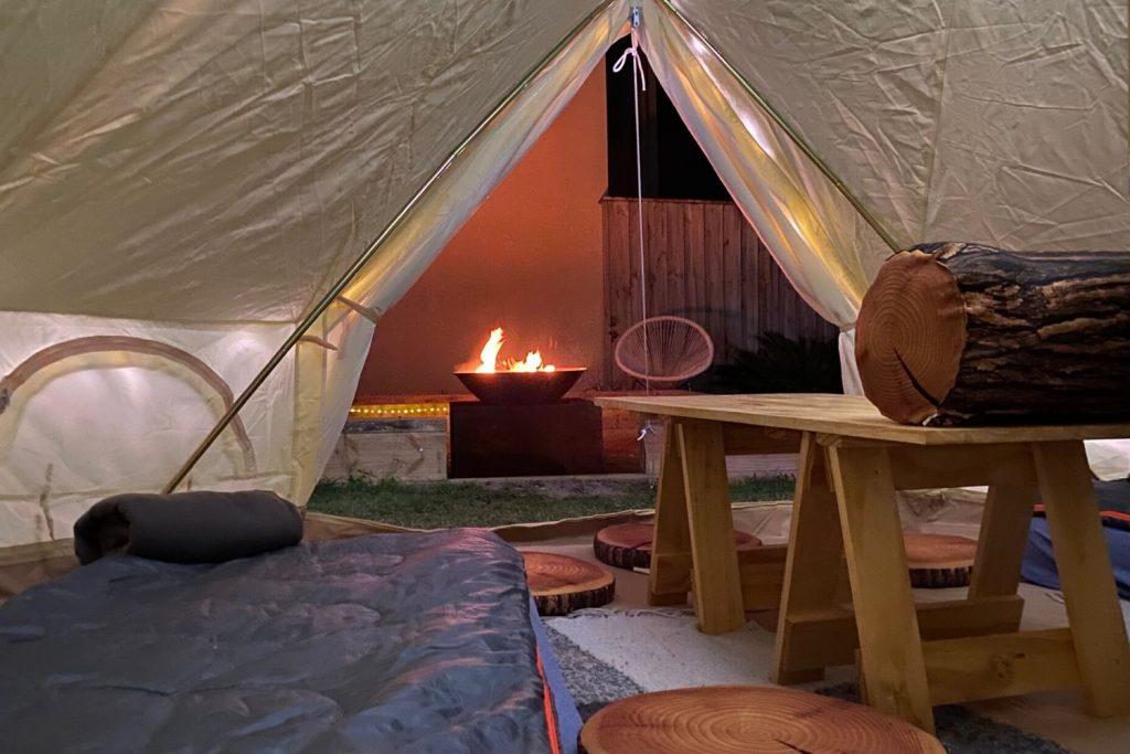 Bell tent slumber party